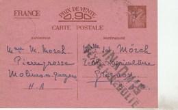 ENTIER IRIS MOLINES EN QUEYRAS 1940 GRIFFE INADMIS TEXTE IRREGULIE POUR GRIGNON SEINE ET OISE - Entiers Postaux
