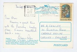 1990 AUSTRALIA 80c CHRISTMAS Stamps COVER (postcard YANCHEP, SHIP, MARINA, LAGOON) To GB Religion - 1990-99 Elizabeth II
