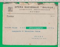 Busta. OPERA NAZIONALE BALILLA. O.N.B.Fascio. Fascismo. Balilla. Nuoro. - 4. 1944-45 Repubblica Sociale