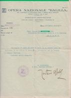 CARTA INTESTATA, Documento. OPERA NAZIONALE BALILLA. O.N.B.Fascio. Fascismo. Balilla. Nuoro. - 4. 1944-45 Repubblica Sociale