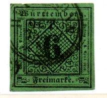 Wurtemberg / N 3 / 6 K Vert / Oblitéré / Côte 55 € - Wurtemberg