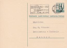 Postkarte. Von Basel Nach Schwyz Drittordens-Zentrale. Schöner Werbestempel  (  SBB 1902-1952 RASCH SICHER BEQUEM  ) - Entiers Postaux