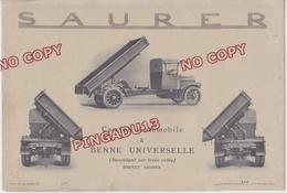 Rare Publicité 8 Volets Camion Saurer Tri Bennes Basculant Sur 3 Côtés Fiche Technique Photo - LKW