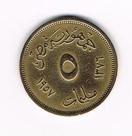 -&   EGYPTE  5 MILLIEMES  1957 ( 1376 ) - Egypte