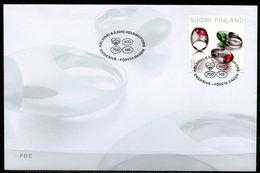 """First Day Cover Finnland,Suomi 2010 Mi.Nr.2012 Ersttagsbrief""""Designer Ringe Von Kirsti Dankas,Edelsteine,Minerale"""" 1 FDC - Mineralien"""
