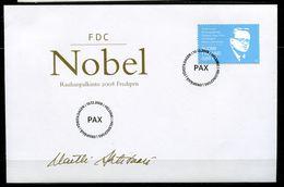"""First Day Cover Finnland,Suomi 2008 Mi.Nr.1941 Ersttagsbrief""""Friedens Nobelpreis Für Martti  Ahtisaari """" 1 FDC - Nobel Prize Laureates"""
