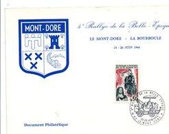 OBLITERATION 5 EME RALLYE DE LA BELLE EPOQUE LE MONT DORE PUY DE DOME 1966 - VOITURE ROCHET SCHNEIDER 1985 - Postmark Collection (Covers)