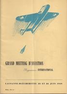 Aviation - Grand Meeting à Lausanne-Blécherette - 1949 - Rare - Aviation Commerciale