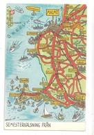 Sweden Malmo Trelleborg CPA Semesterhalsning Fran Suede Sweden MAP MAPS Postcard Unused - Cartes Géographiques