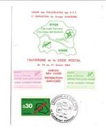 OBLITERATION L'AUVERGNE ET LE CODE POSTAL CLERMONT FERRAND 1984 - Postmark Collection (Covers)