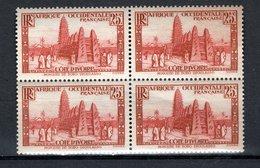 COTE D'IVOIRE N° 116 BLOC DE QUATRE   NEUF AVEC CHARNIERE COTE  1.60€  VOIR DESCRIPTION  MOSQUEE - Elfenbeinküste (1892-1944)