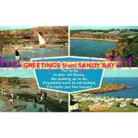 Greetings From Sandy Bay, 4 Scenes, Devon, England, Postcard - Postcards