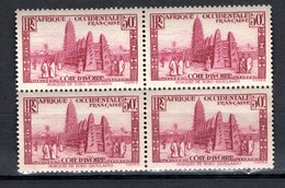 COTE D'IVOIRE N° 120 BLOC DE QUATRE   NEUF AVEC CHARNIERE COTE  2.00€  VOIR DESCRIPTION   MOSQUEE - Elfenbeinküste (1892-1944)