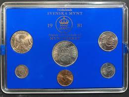 Svezia Sveriges Set 6 Coins 1981 5 Ore - 5 Kronor - Svezia