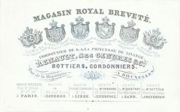 ZZ972 - Carte Porcelaine (1840/1850) Décorée Armoiries - Renault § Cie Bottiers , Cordonniers Des Rois Et Des Princes - Visitekaartjes