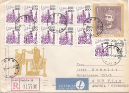 POLEN 1999 - 15 Z Ganzsache + 12 Fach Zustzfrankierung Auf R-LP-Brief - 1944-.... Republik
