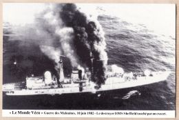 Amsud075 Falklands War 10 Juin 1982 Destroyer HMS SHEFFIELD Touché Par EXOCET Guerre Des MALOUINES - MONDE VECU Série F - Falkland