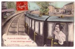 """2149 -Chaville ( 92 ) - Fantaisie Ferroviaire - """" Je Pars De Chaville Et Vous Envoie Mes Amitiés """" - E.A. à Paris - - Chaville"""