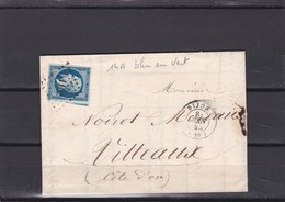 LAC + 14 Ad Bleu Sur Vert   PC  1102  DIJON Pour VITTEAUX / COTE D'OR 8 JUIN 1855 - LOT 32  COTE  DALLAY 235€ - 1849-1876: Période Classique