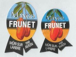 # 2 MANGO FRUNET PAR AVION Fruit Label, Etichette Etiquettes Etiquetas Sticker Adhesive By Air Airplane Flight - Fruits & Vegetables