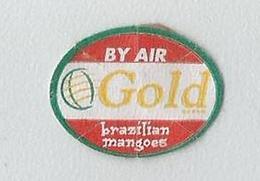 # MANGO GOLD BRAZIL BY AIR Fruit Sticker Label Etichette Etiquettes Etiquetas Adhesive Aufkleber Fruta Frucht Avion - Fruits & Vegetables