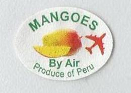 # MANGO PERU BY AIR Fruit Sticker Label Etichette Etiquettes Etiquetas Adhesive Aufkleber Fruta Frucht Avion - Fruits & Vegetables