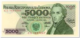 POLAND,5000 ZLOTYCH,1988,P.150c,UNC - Polonia