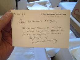 TRISTAN BERNARD BILLET SUR CARTON A LA SOPRANO JEANNE KRIEGER 1938 - Autographes