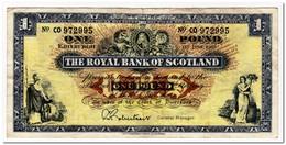 SCOTLAND,ROYAL BANK,1 POUND,1966,P.325,F-VF - 1 Pound