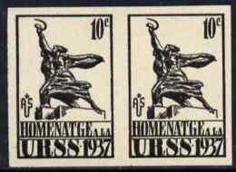 79814 Spain 1937 Propaganda Label Inscribed 'Homenatge A La URSS' 10c Black Imperf Pair On Ungummed Paper (statues) - 1931-Today: 2nd Rep - ... Juan Carlos I