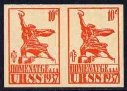79815 Spain 1937 Propaganda Label Inscribed 'Homenatge A La URSS' 10c Orange Imperf Pair On Ungummed Paper (statues) - 1931-Today: 2nd Rep - ... Juan Carlos I