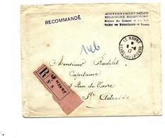 Lettre RECOMMANDEE Du Gouvernement Belge  Obl. Et étiquette Française LE HÂVRE/SEINE INFERIEURE 9.8.17 V. Ste Adresse.TB - Belgisch Leger