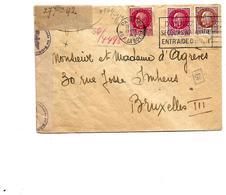 N° 516(2)-517 PARIS VIII/R.LA BOETIE 29.XII.1942 S/Lettre V. BRUXELLES III. Cen Sure De Cologne. TB - Guerra Del 1939-45