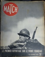 Match N° 68 19 Octobre 1939. Sur Le Front - Journaux - Quotidiens
