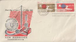 Enveloppe FDC  1er Jour   NOUVELLES  HEBRIDES   Centenaire  De  L' Union  Internationale  Des   Télécommunication   1965 - FDC