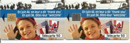2 Télécartes 50ème ANNIVERSAIRE DU DEBARQUEMENT - 1944 / 1994 - 50 U SO3 Et SO5 SN 5/94 ( N° 443 ) - 1994