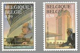 """België/Belgique 2003 François Schuiten Henry Van De Velde (1863-1957) """"Expo 137 Paris"""" + """"Boekentoren 1933-1938"""" - Unused Stamps"""