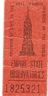 EMPIRE STATE Observatories, Biglietto Ingresso - Oggetti 'Ricordo Di'