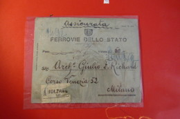 ASSICURATA  FERROVIE DELLO STATO   AFFRANCATURA MISTA - Italien