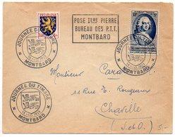 Pseudo Flamme 'Pose Ière Pierre / Bureau Des PTT / Montbard' Avec CaD Journée Du Timbre 1953 (Côte D'Or) - Marcophilie (Lettres)