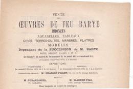 """VENTE  AUX ENCHERES  HOTEL  DROUOT,,, 1876  DE FEU """" BARYE """" VENTE APRES SUCCESSION DE MR  BARYE,,,,, - Bronzes"""