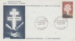 Enveloppe   FDC  1er Jour    FRANCE   Appel  Du  18  Juin  1940  20éme  Anniversaire   1960 - 1960-1969
