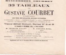 VENTE AUX ENCHERES ,,,,, HOTEL  DROUOT DE LA SUCCESSION  COURBET1881,,,, 33 TABLEAUX DE GUSTAVE COURBET - Unclassified