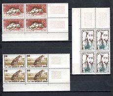 COTE DES SOMALIS N° 287 à 289 BLOCS DE QUATRE  NEUFS SANS CHARNIERE COTE 15.20€  ANIMAUX - Französich-Somaliküste (1894-1967)