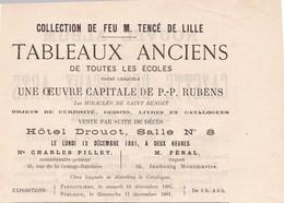 SUITE DECES  ? VENTE DE TABLEAUX ANCIENS , TOUTES ECOLES  DONT UNE OEUVRE CAPITALE DE RUBENS ,,, 1881 - Non Classés