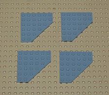 Légo Lot 4 X Plaque Angle Cornee Grise 6x6 Ref 6106 - Lego Technic