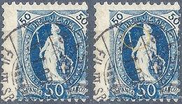 Stehende Helvetia 70D, 50 Rp.dunkelblau BASEL  (Abart)           1898 - Oblitérés