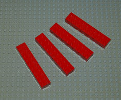 Légo Lot 4 X Brique Rouge 2x10x1 Ref 3006 - Lego Technic