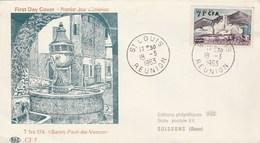 Réunion FDC 1963 Yvert  348 St Paul De Vence - Storia Postale