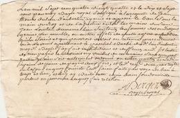 Vieux Papier Du Béarn, Aubertin, 1784, Les Biens De Pascal Barbé Sont Placés Sous La Main Du Roi - Documents Historiques